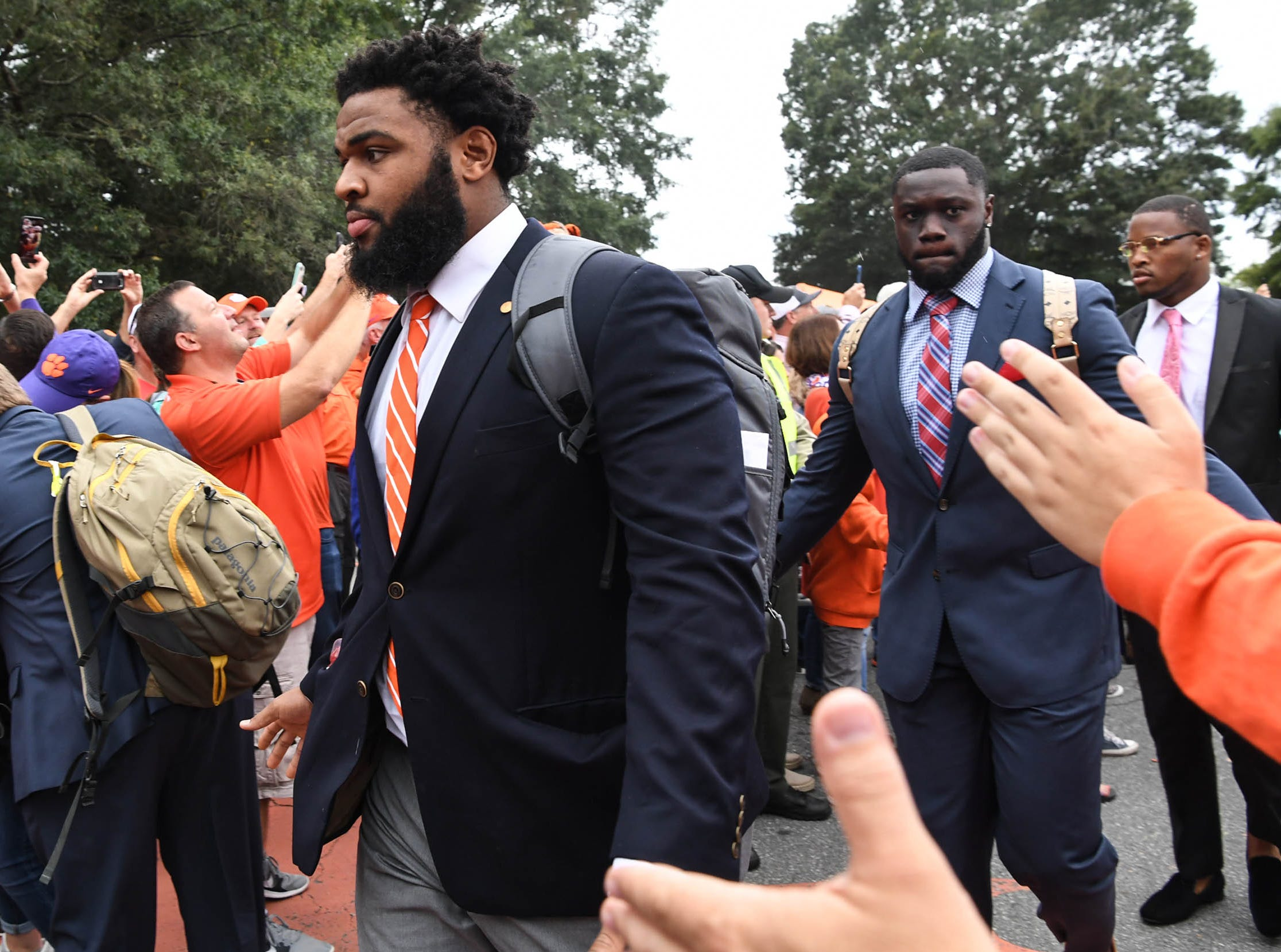Clemson defensive lineman Christian Wilkins during Tiger Walk before the game in Memorial Stadium on Saturday, October 20, 2018.