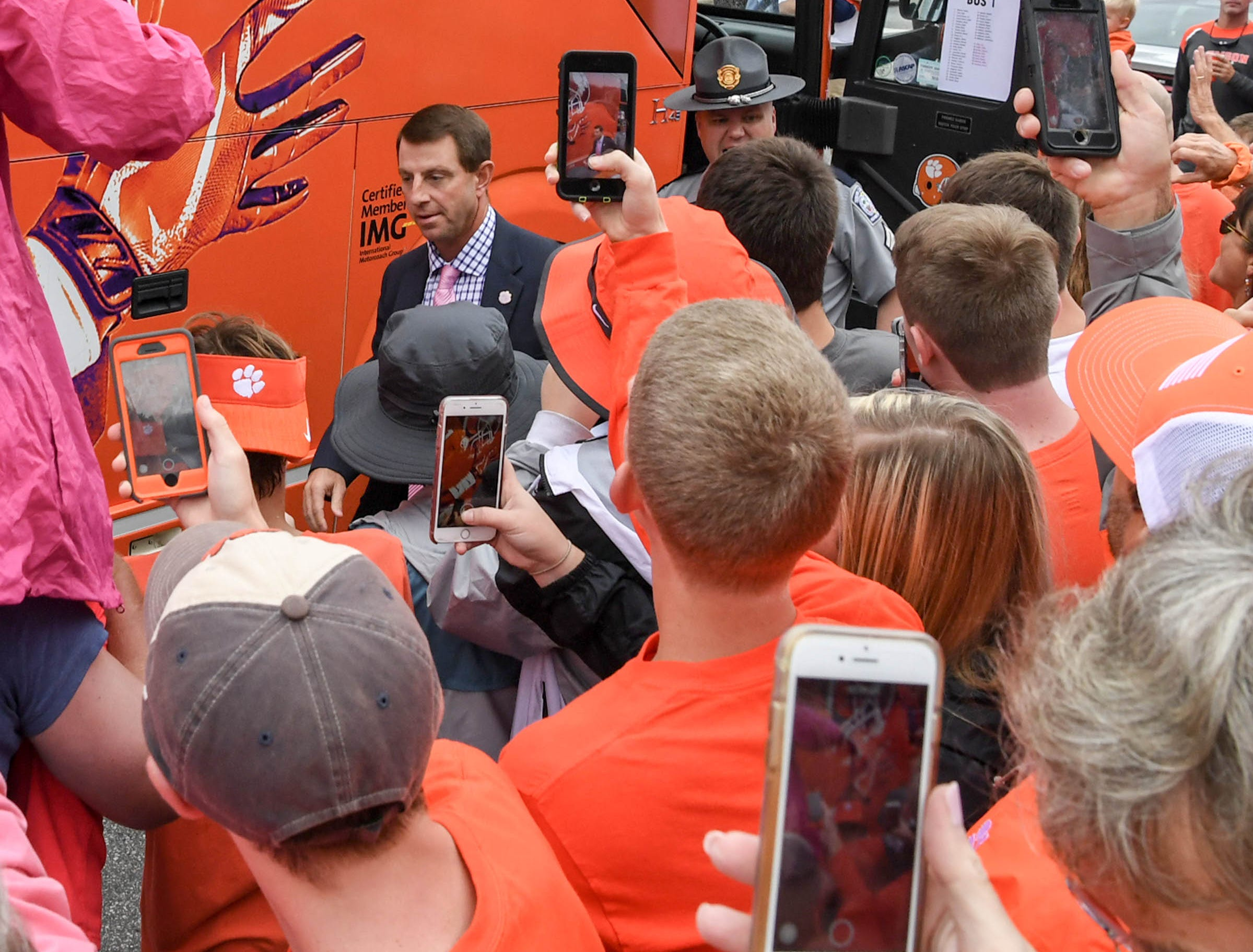 Clemson Head Coach Dabo Swinney during Tiger Walk before the game in Memorial Stadium on Saturday, October 20, 2018.