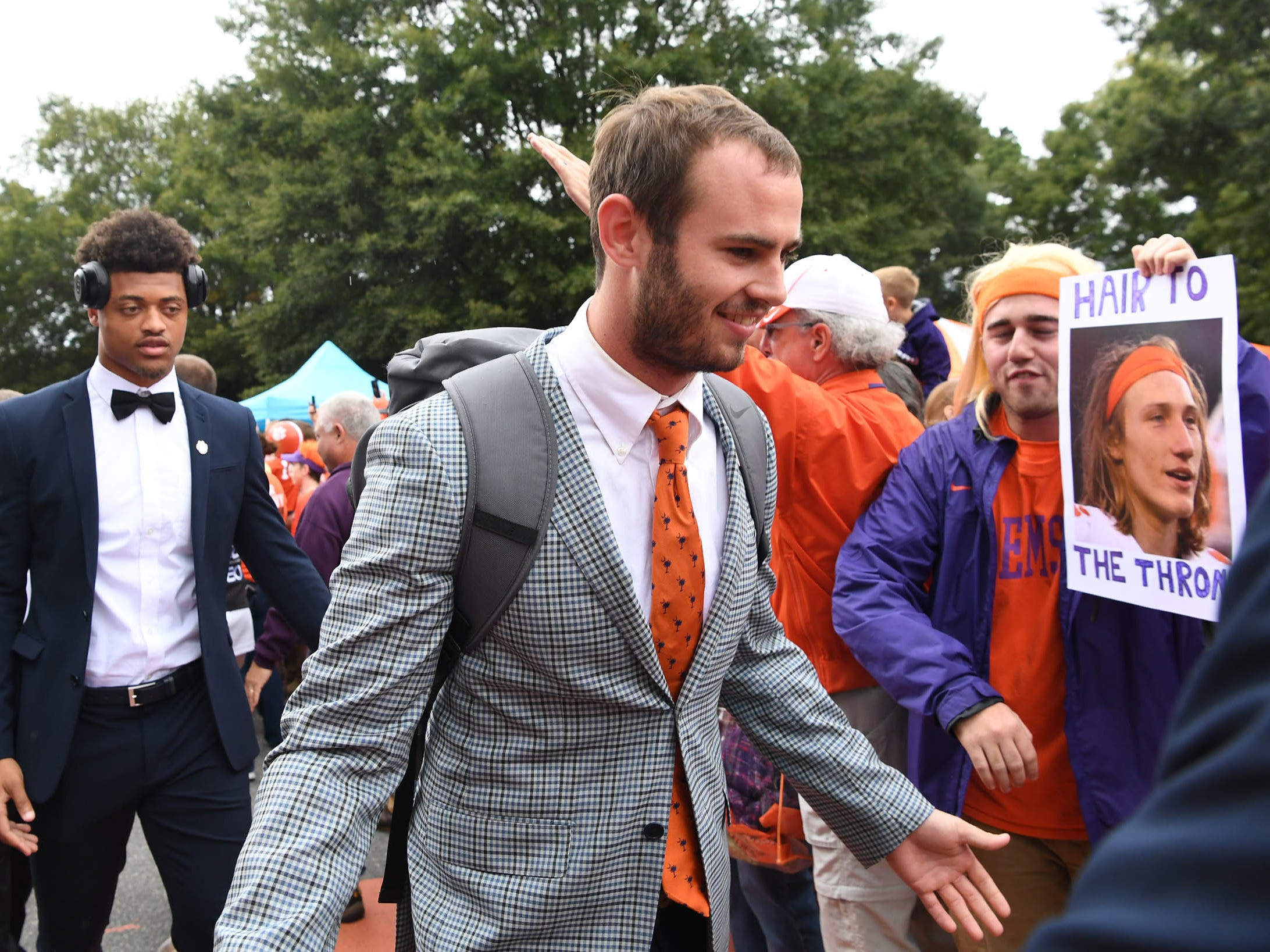Clemson wide receiver Hunter Renfrow walks by fans during Tiger Walk before the game in Memorial Stadium on Saturday, October 20, 2018.