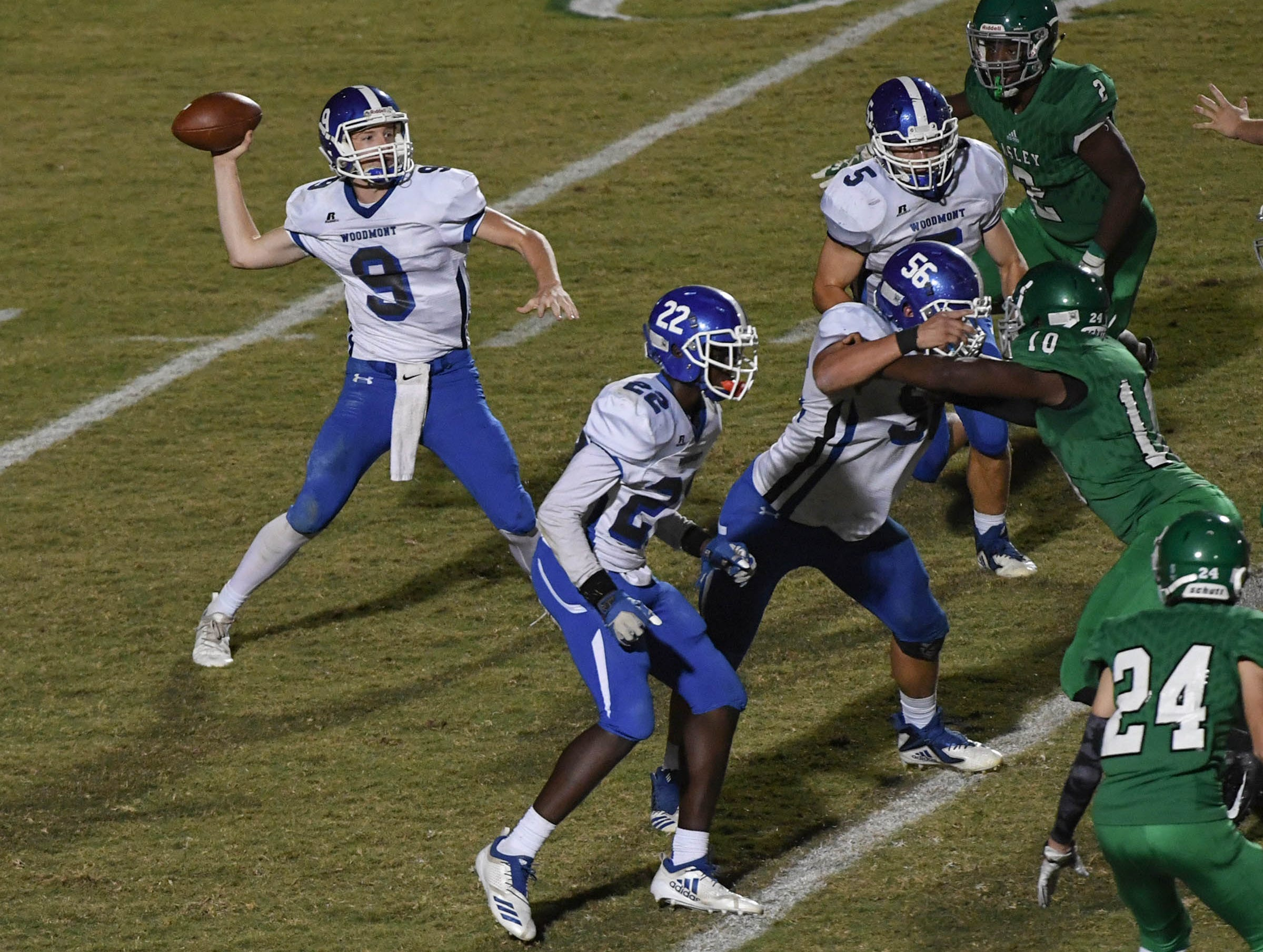 Woodmont's Clay Bartunek throws during the second quarter at at Easley High School in Easley on Friday, October 19, 2018. .