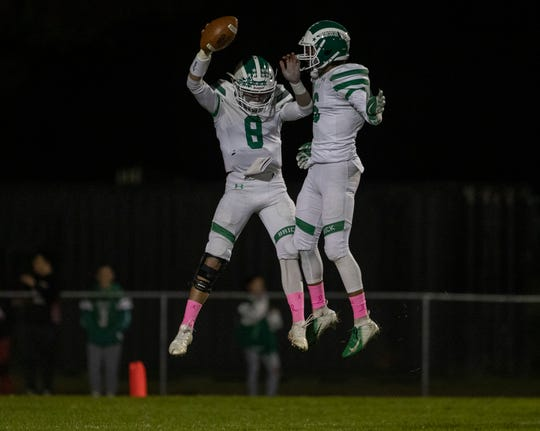Jimmy Leblo celebrates his first touchdown in game with team mate Shane Williams. Brick Football defeats Jackson Memorial in Jackson, NJ on October 19, 2018.