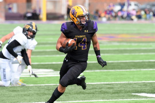 Hardin-Simmons' Bryson Hammonds (14) runs in space against Texas Lutheran at Shelton Stadium on Saturday.