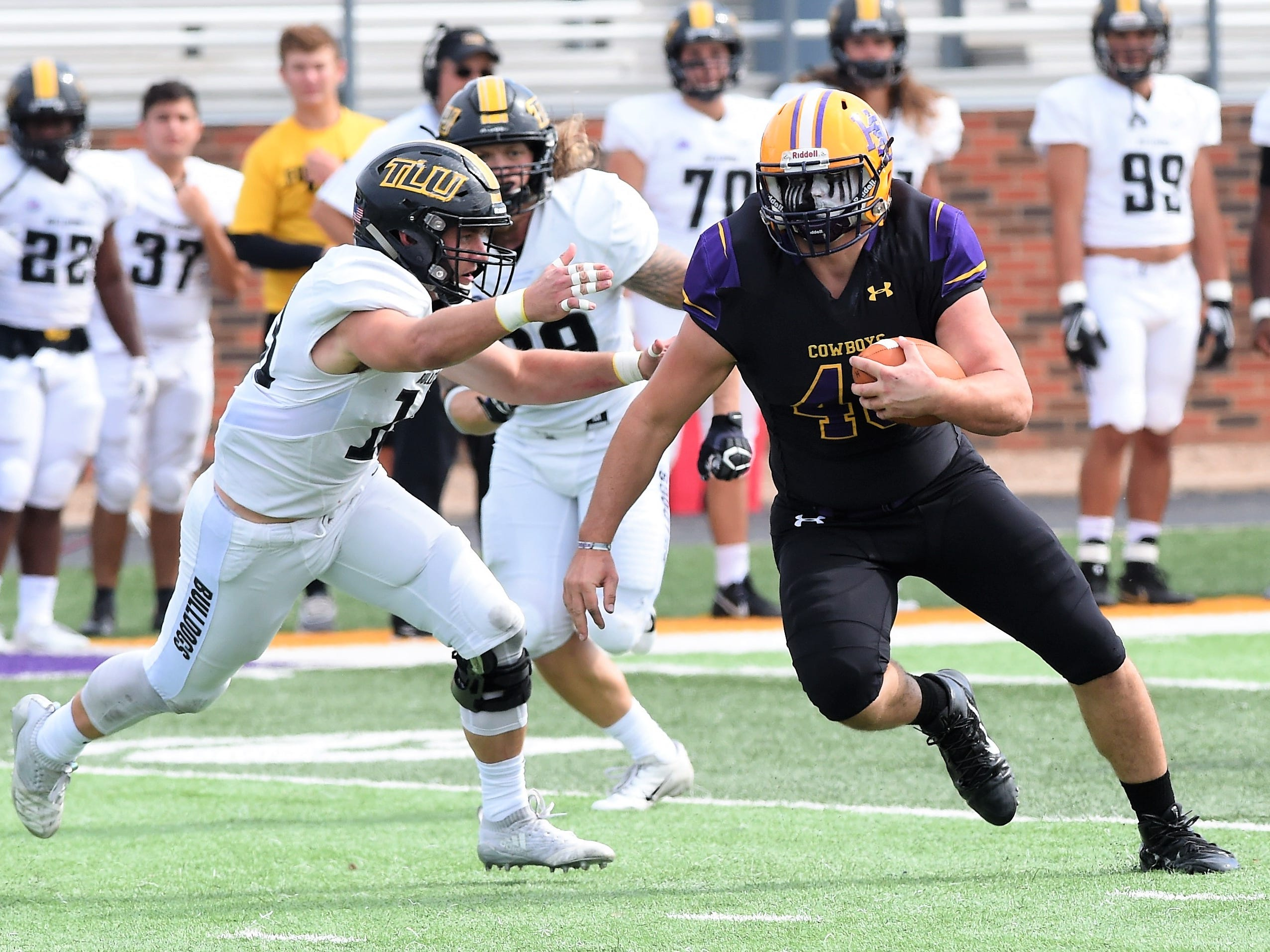 Hardin-Simmons tight end Hayden Day (48) runs after a catch against Texas Lutheran at Shelton Stadium on Saturday, Oct. 20, 2018.