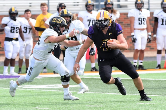 Hardin-Simmons tight end Hayden Day (48) runs after a catch against Texas Lutheran at Shelton Stadium on Saturday. The Cowboys won 58-14.