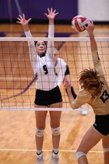 Wylie's Keetyn Davis (9) reaches for a block in the 3-0 loss to Wichita Falls Rider on Friday, Oct. 19, 2018, at Bulldog Gym. The Lady Bulldogs travel to Cooper on Tuesday in a battle for third place to finish the regular season.