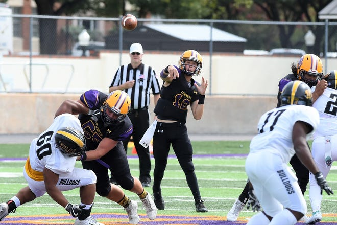 Hardin-Simmons quarterback Ty Hooper (12) throws a pass against Texas Lutheran at Shelton Stadium on Saturday, Oct. 20, 2018.