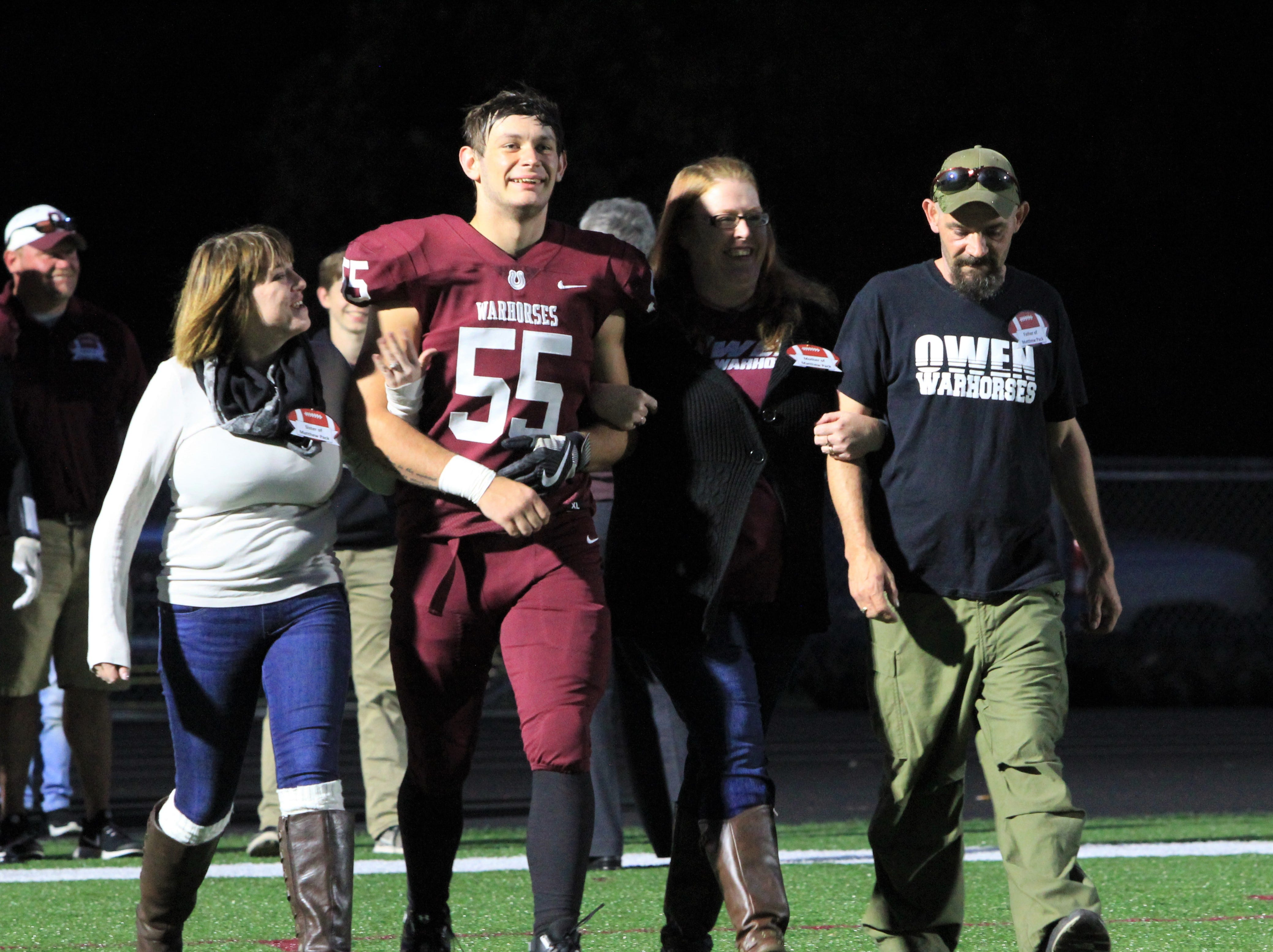 The Owen Warhorses improved to 3-5 on the season and 2-1 in the Western Highlands Conference on senior night at Warhorse Stadium, where Hall of Fame inductees Yogi McElrath, Bobby Ferguson and Kenny Ford were introduced at halftime.