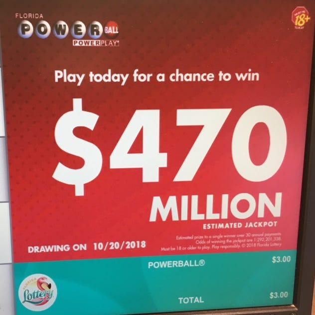 The Powerball jackpot has climbed to $470 million.
