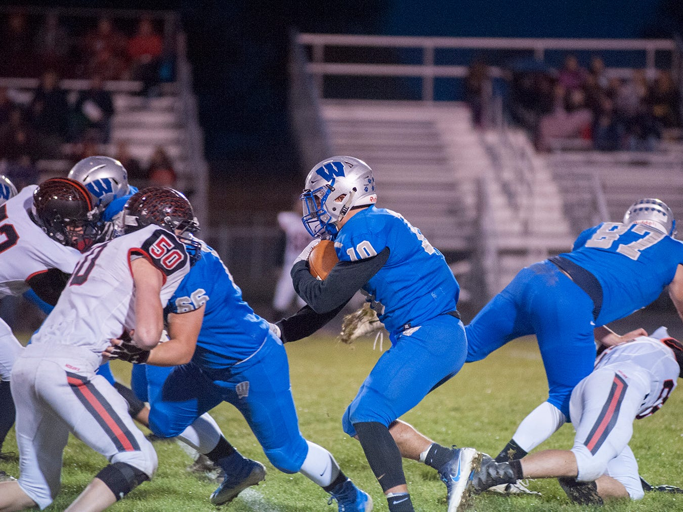 Wynford's Blake Sparks runs with the ball.