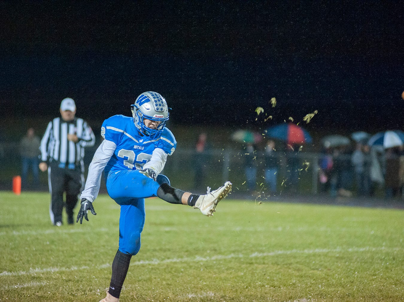 Wynford's Seth Benedict punts the ball.