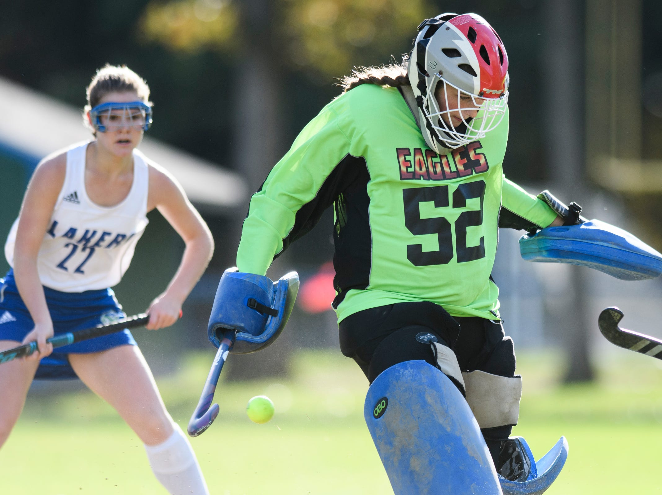 The ball gets past Mt. Abraham goalie Chessley Jackman (52) for a goal during the field hockey game between Mount Abraham and Colchester at Colchester High School on Saturday morning October 20, 2018 in Colchester.