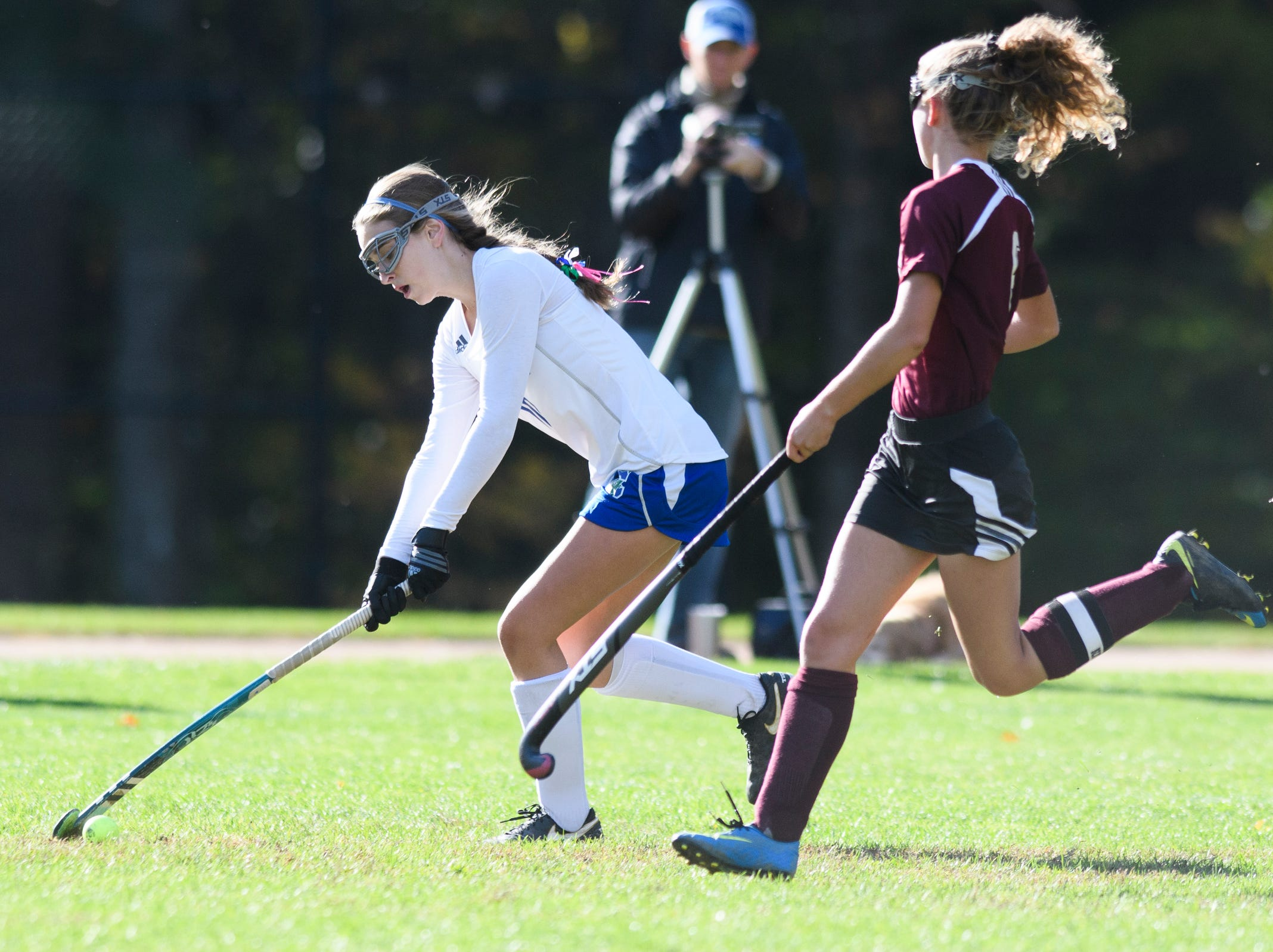 Colchester's Hannah Carroll (10) runs down the field with the ball during the field hockey game between Mount Abraham and Colchester at Colchester High School on Saturday morning October 20, 2018 in Colchester.
