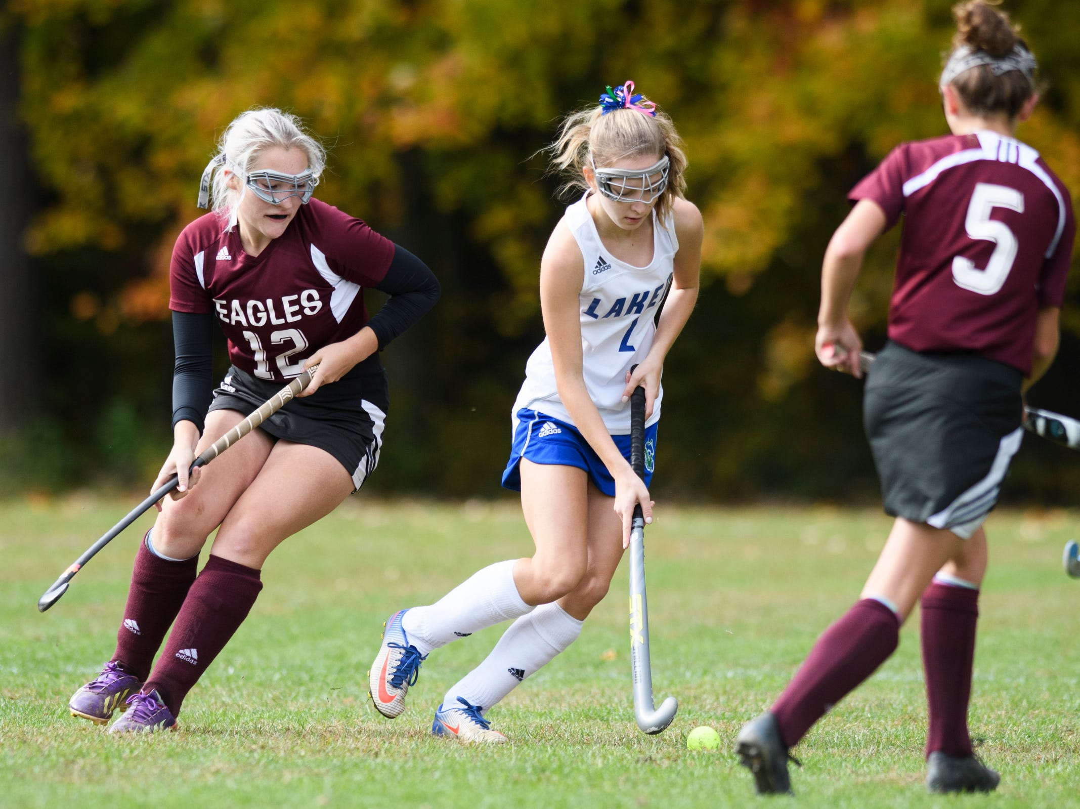 Colchester's Chloe Echo (2) runs with the ball during the field hockey game between Mount Abraham and Colchester at Colchester High School on Saturday morning October 20, 2018 in Colchester.