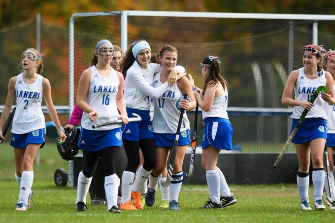 Colchester celebrates the win during the field hockey game between Mount Abraham and Colchester at Colchester High School on Saturday morning October 20, 2018 in Colchester.