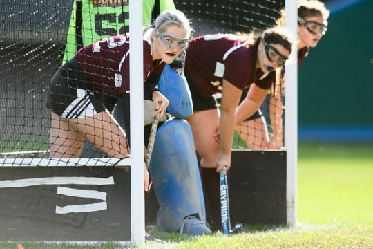 Mt. Abraham's Camille Lyons (12) waits for a corner during the field hockey game between Mount Abraham and Colchester at Colchester High School on Saturday morning October 20, 2018 in Colchester.
