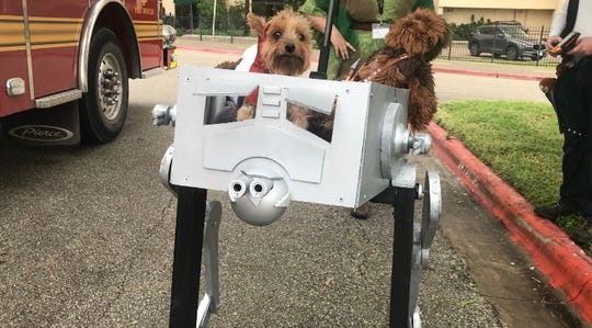 Bailey the Yorkshire Terrier was dressed up as an Ewok in a AT-ST Walker from the Star Wars franchise at the seventh annual Bark in the Park in Corpus Christi Saturday, Oct. 20, 2018.