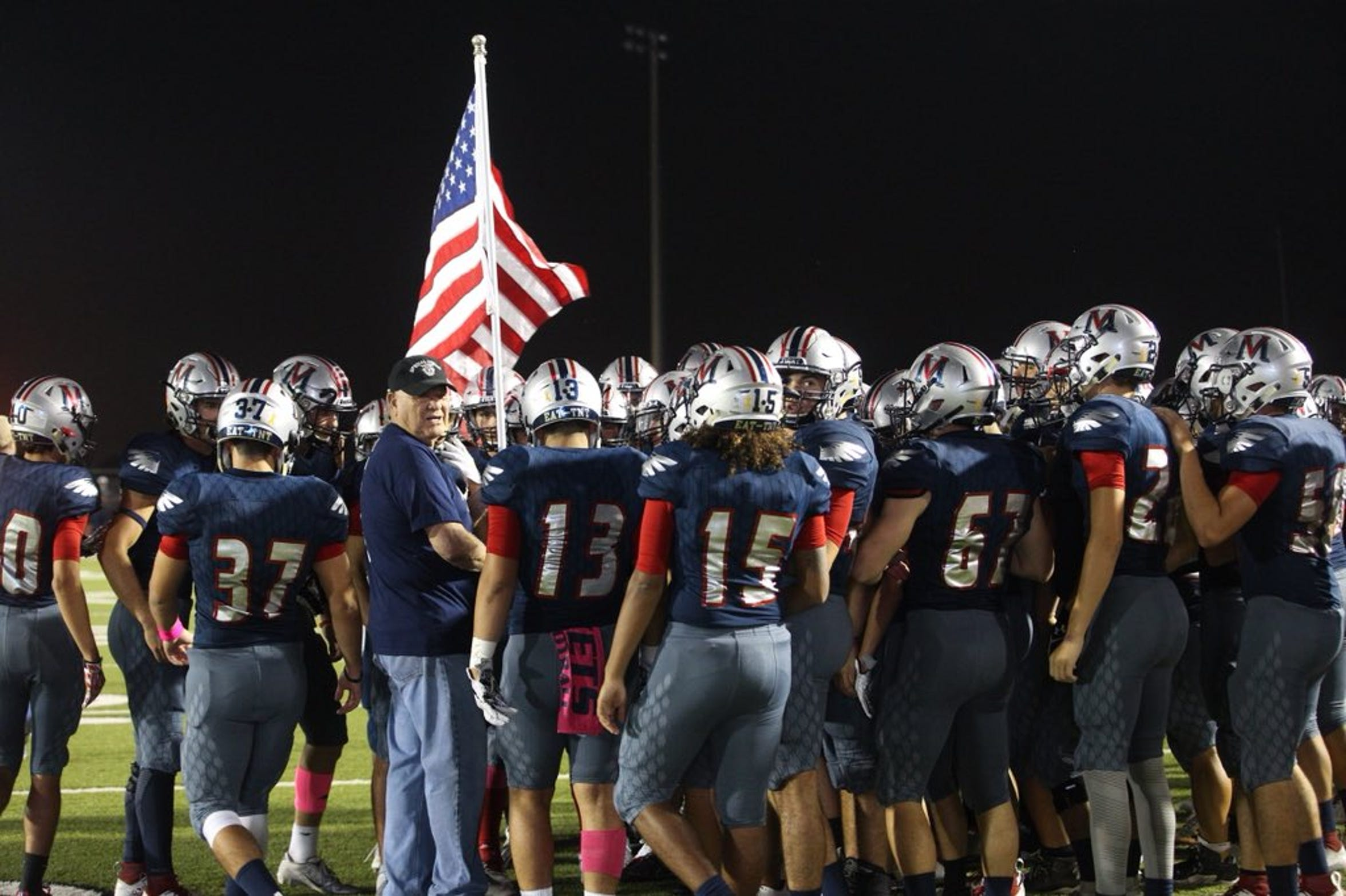 Veterans Memorial Eagles take field for game against Victoria East at Cabaniss Stadium.