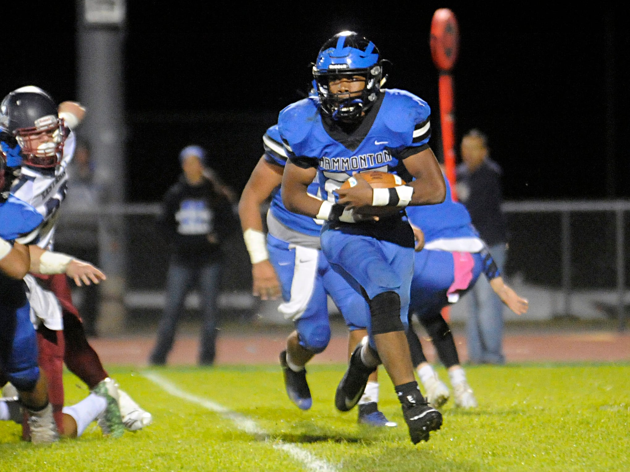 Hammonton's Jaiden Abrams runs for a gain against visiting Eastern. The Vikings topped the Blue Devils, 13-12, on Friday, October 19, 2018.