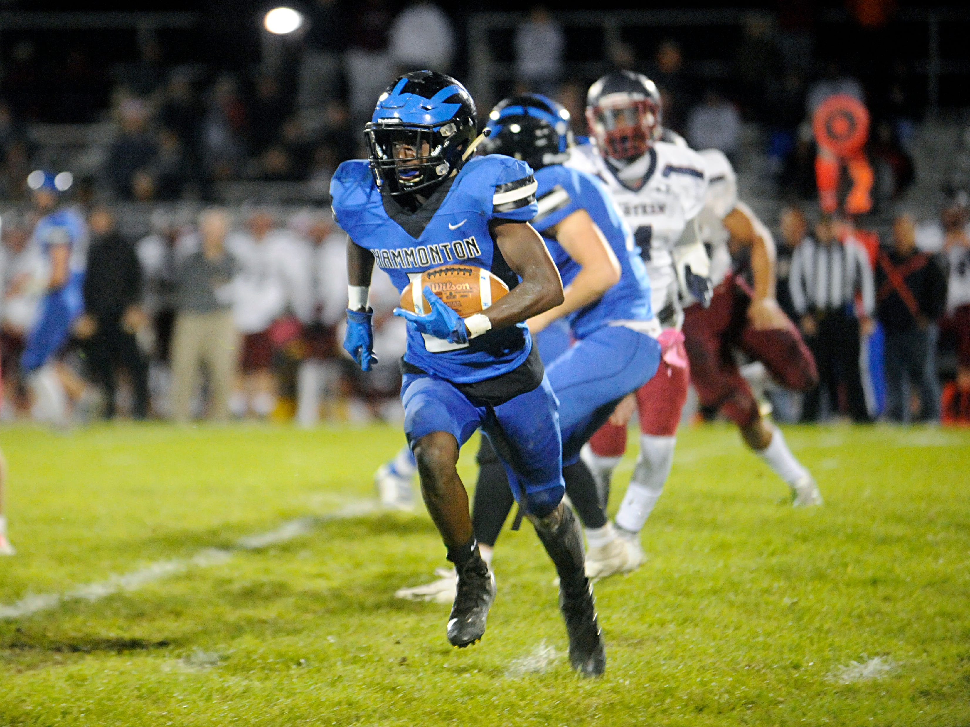 Hammonton's Caleb Nartey runs for a gain against visiting Eastern. The Vikings topped the Blue Devils, 13-12, on Friday, October 19, 2018.