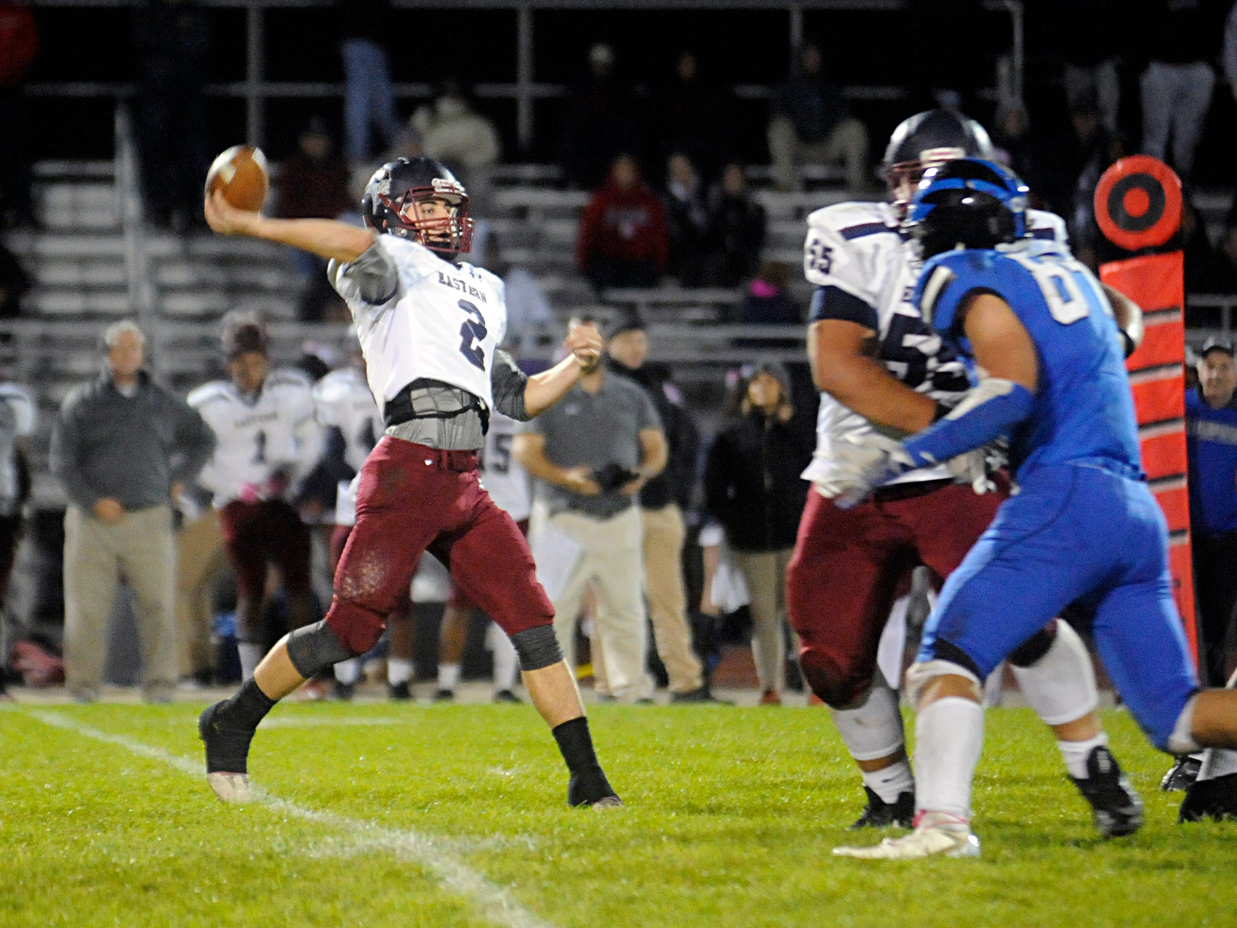Eastern's QB, Andrew Heck, passes the ball during a game against Hammonton. The visiting Vikings topped the Blue Devils, 13-12, on Friday, October 19, 2018.