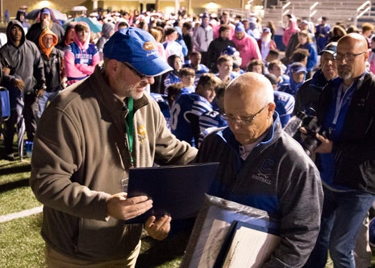 Coach Arndt was honored for his 50 years of coaching after Chillicothe's game against Washington Courthouse on Friday, October 19, 2018.