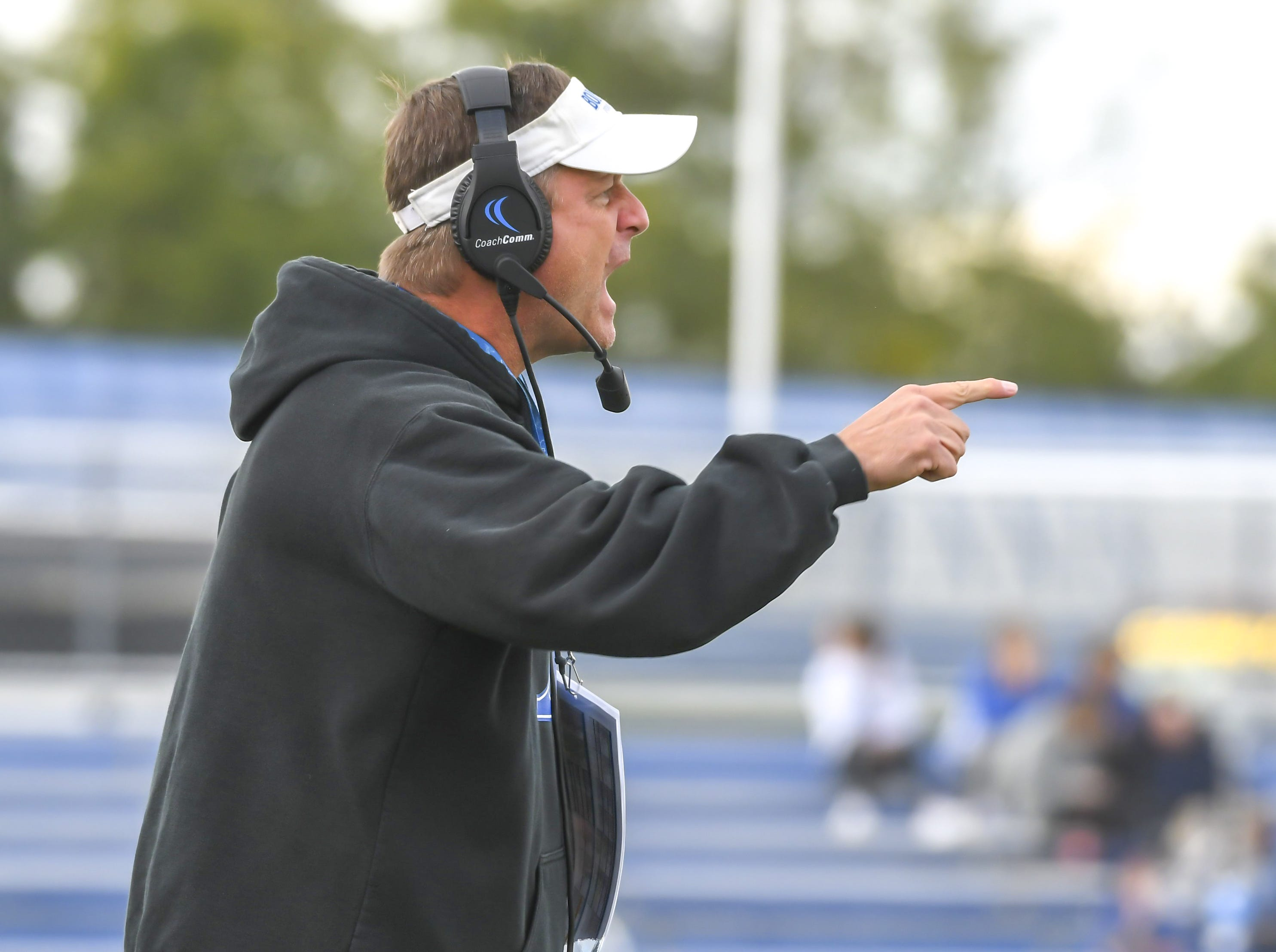 Steve Specht of St. X disagrees with a call against Cleveland St. Ignatius at St. Xavier High School, Saturday, October, 20 2018