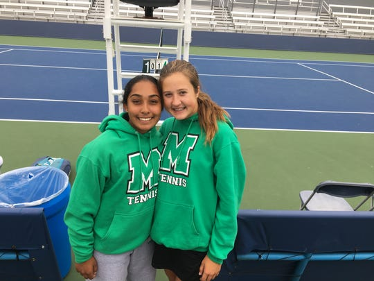 Mason sophomores Raina Chada , left, and Annie Kruse advanced to the Division I state semifinals and a chance to play their teammates. They did face one another, but it came in the consolation match.