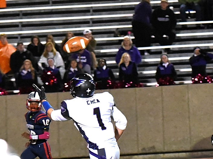 CHCA's DJ Ames makes a one-handed grab and takes the ball to the endzone for an Eagles touchdown, October 19, 2018.