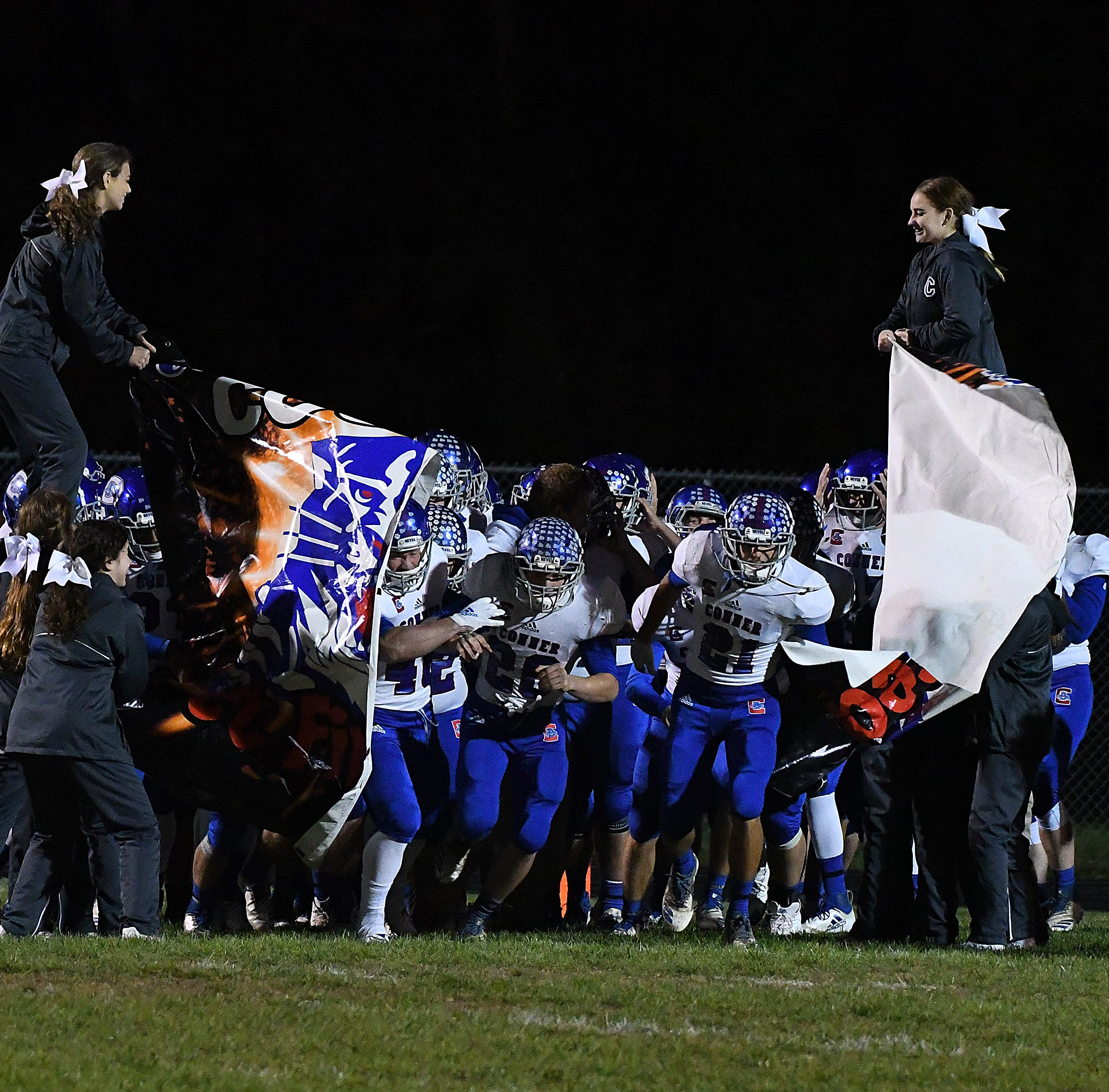 Conner runs onto the field before the game against Cooper in the Skyline Chili Crosstown Showdown at Cooper High School, Union, KY, Friday Oct. 19, 2018