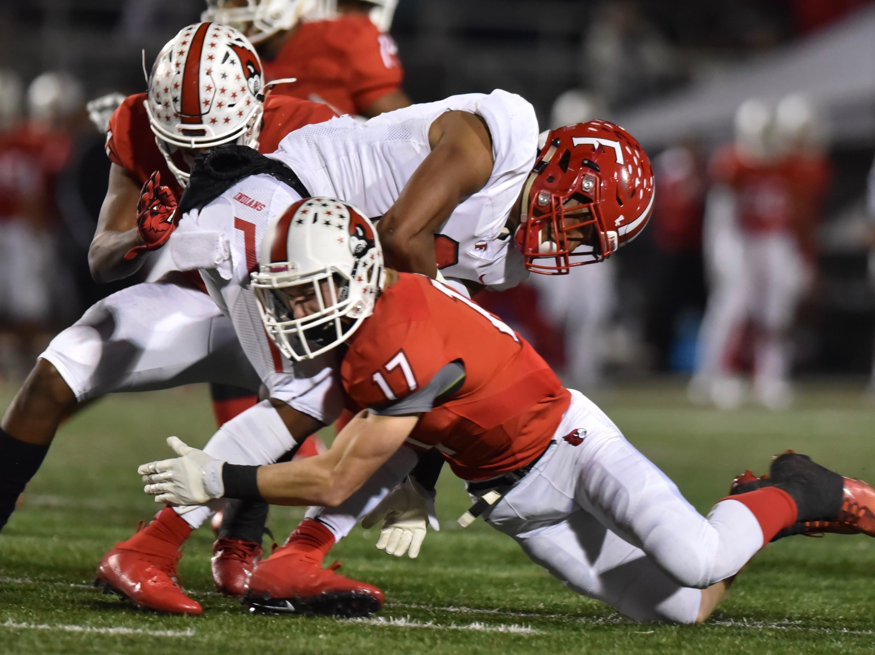 Colerain's Lawson Sandusky makes an open field tackle on a kickoff against Fairfield Friday, Oct. 19, 2018 at Colerain High School