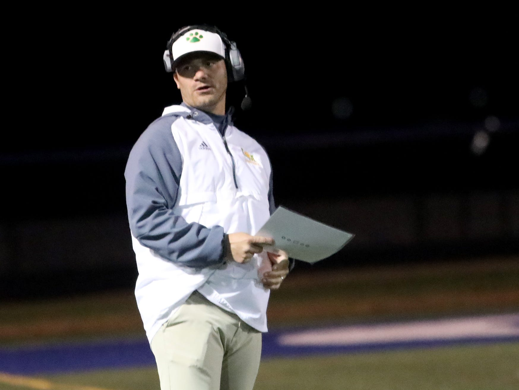 Little Miami head coach Nate Mahon during their football game against Edgewood, Friday, Oct. 19, 2018.