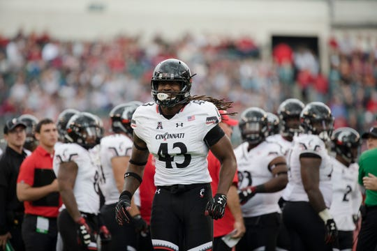 Cincinnati Bearcats defensive end Michael Pitts (43) is ejected for targeting during the NCAA football game between Cincinnati Bearcats and Temple Owls on Saturday, Oct. 20, 2018, at Lincoln Financial Field in Philadelphia, Penn.