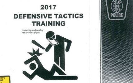 A federal judge cited this poster used in training materials by an Ohio police department. A woman alleges in a new lawsuit that an officer with the department didn't let her put clothes on before arresting her last year.