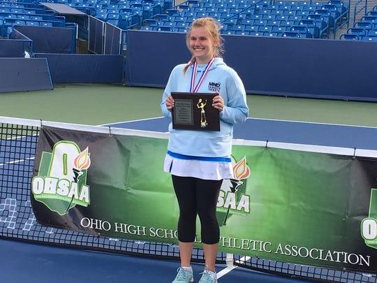 MND's Kelli Niehaus receives her Division I state runner-up plaque