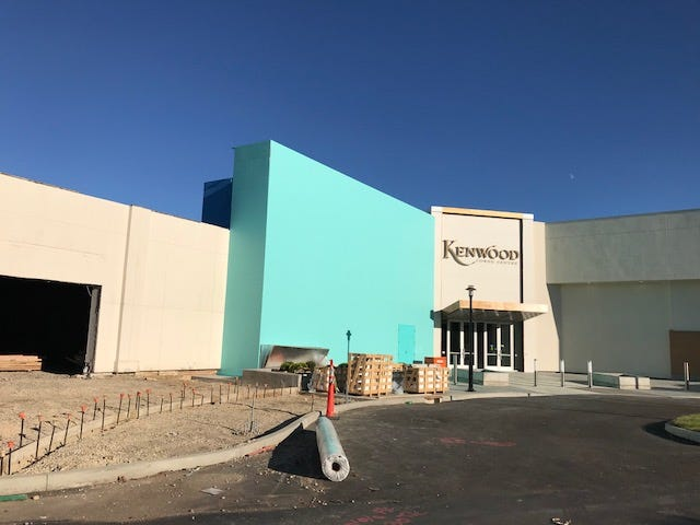 """A Tiffany & Co. store will be opening in the Kenwood Towne Centre in the Nordstrom wing where this wall has been painted """"Tiffany Blue."""" On the other side of the new mall entrance pictured above on Oct. 17, 2018, will be a new Louis Vuitton store. Both luxury companies are to begin welcoming customers by Black Friday."""