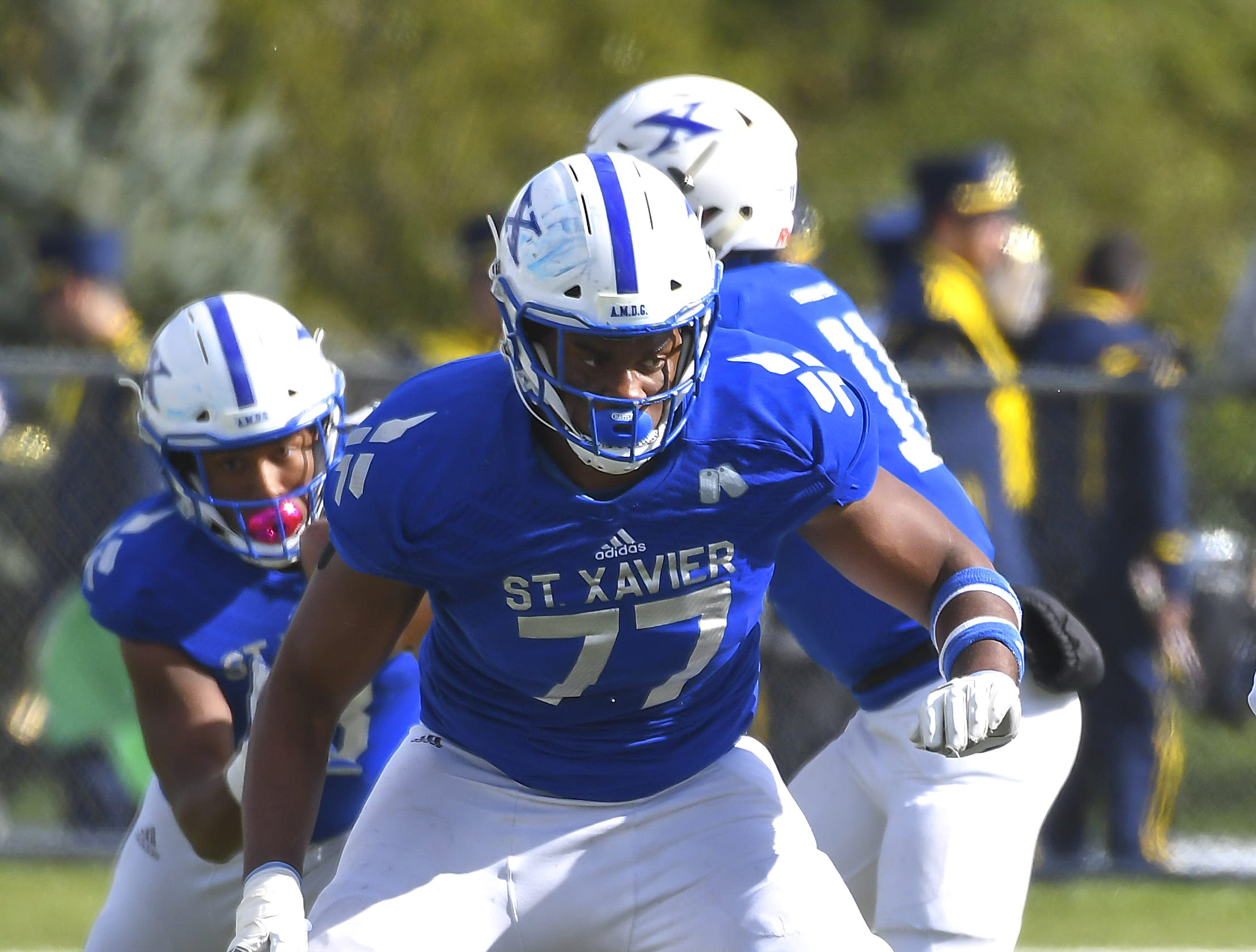 St. X offensive lineman Paris Johnson in action against Cleveland St. Ignatius at St. Xavier High School, Saturday, October, 20 2018