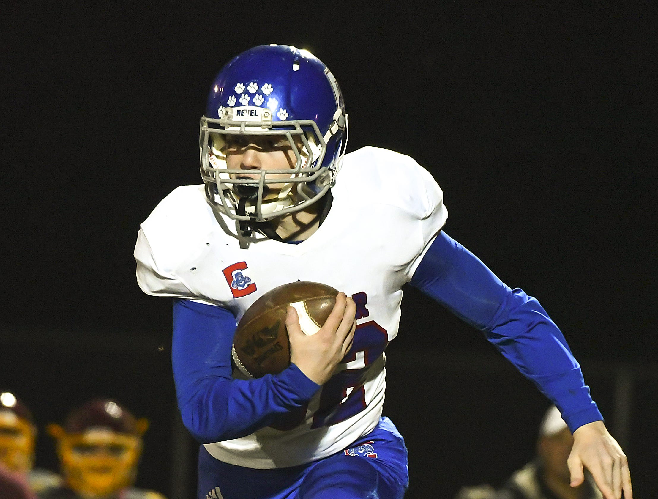 Douglas Abdon of Conner runs the football against Cooper in the Skyline Chili Crosstown Showdown at Cooper High School, Union, KY, Friday Oct. 19, 2018