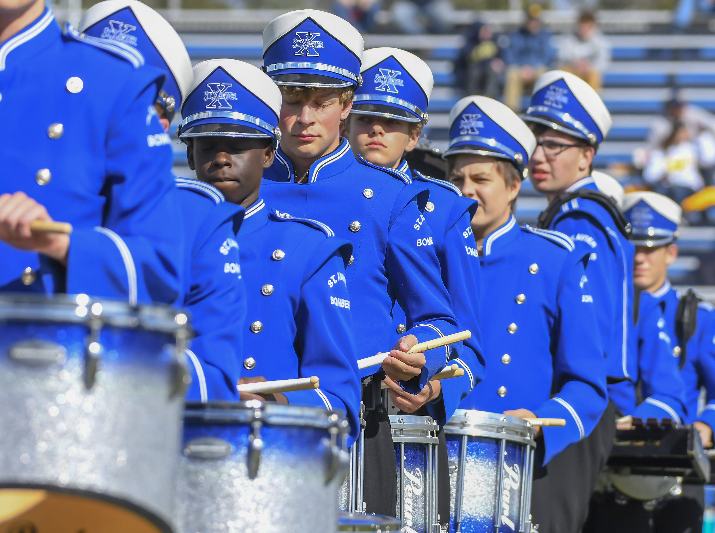 St. X marching band plays before the game against St. Ignatius at St. Xavier High School, Saturday, October, 20 2018