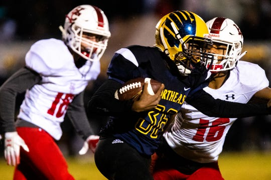 Jaylin Bowser (36) of Northeast runs the ball during the second half at Northeast High School Friday, Oct. 19, 2018, in Clarksville, Tenn.