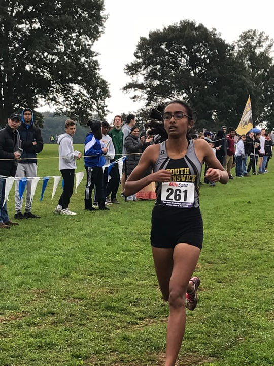 South Brunswick's Nikhila Obbineni wins the girls race at the GMC Cross Country Championships on Saturday, Oct. 20 at Thompson Park.