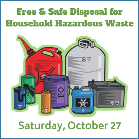 A free Household Hazardous Waste recycling event will be held from 9 a.m. to 2 p.m.on Saturday, Oct.27,at the Nokia campus, 600 Mountain Avenue in New Providence.