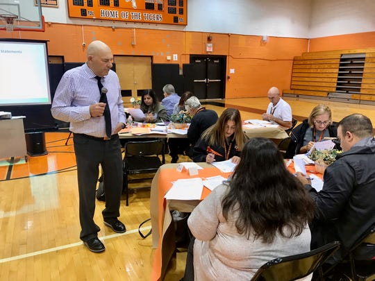 Harvey Silver, president of Silver Strong & Associates and noted author of several articles and books on instructional tools and strategies, leading a professional development sessions with Linden High School teachers on Monday, Oct. 8.