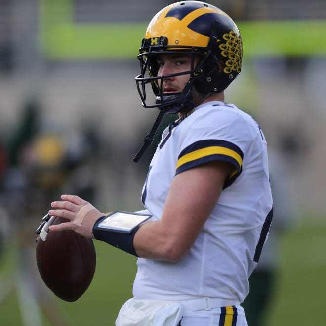 Michigan QB Shea Patterson warms up before action against Michigan State on Saturday, Oct. 20, 2018, at Spartan Stadium.