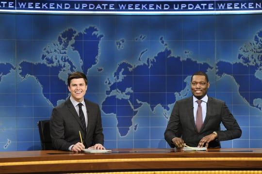 "Colin Jost, left, and Michael Che, took over the  ""Weekend Update"" segment of ""Saturday Night Live"" in 2014."