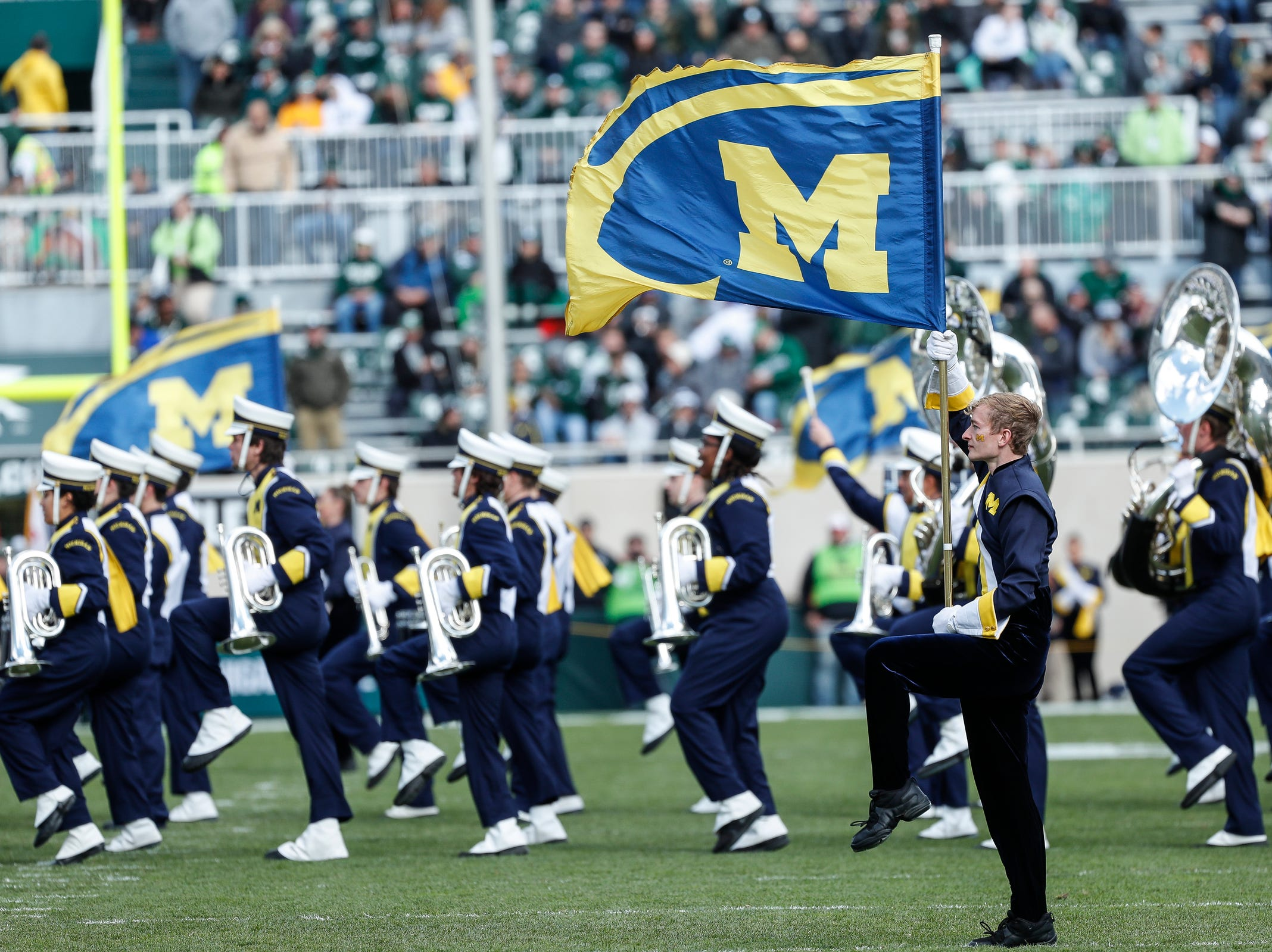The Michigan Marching Band performs before the Michigan State game at Spartan Stadium on Saturday, Oct. 20, 2018.