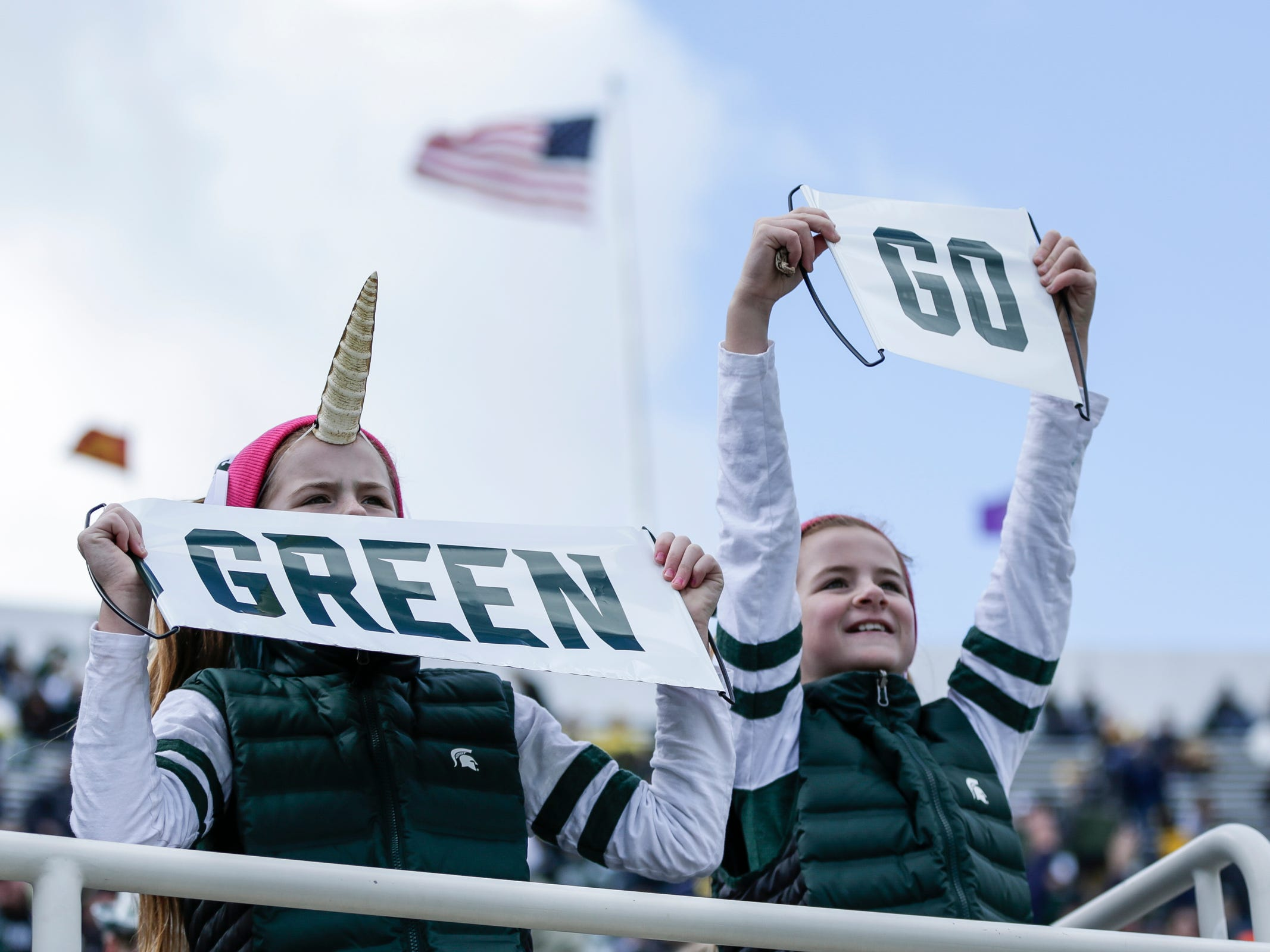 Michigan State fans cheer for the Spartans during the first half at Spartan Stadium against Michigan on Saturday, Oct. 20, 2018.