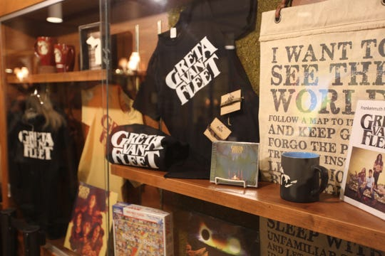 Greta Van Fleet merchandise is displayed at an album-release party at Bavarian Inn's Michigan on Main restaurant in Frankenmuth, Mich., on Oct. 19, 2018.