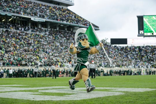 Sparty celebrates a touchdown against Michigan during the second half at Spartan Stadium in East Lansing, Saturday, Oct. 20, 2018.