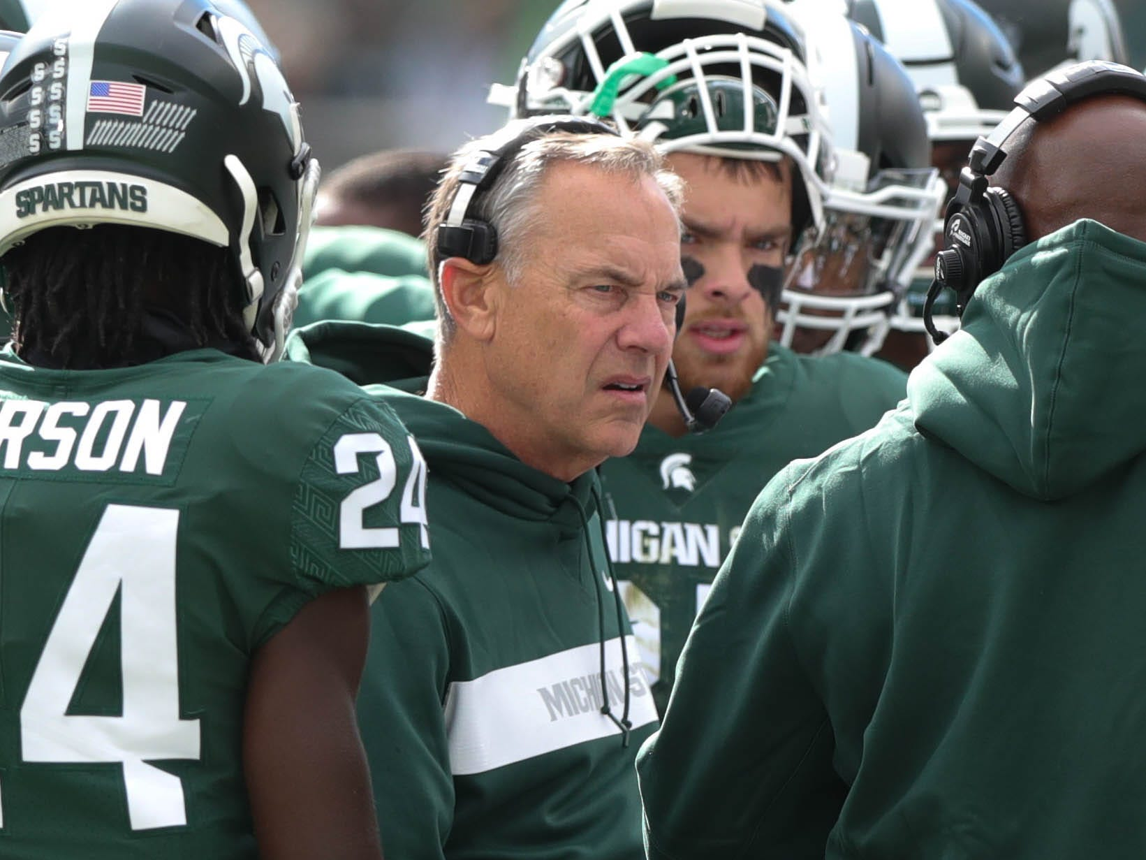 Michigan State coach Mark Dantonio on the sideline during the first half against Michigan on Saturday, Oct. 20, 2018, at Spartan Stadium.