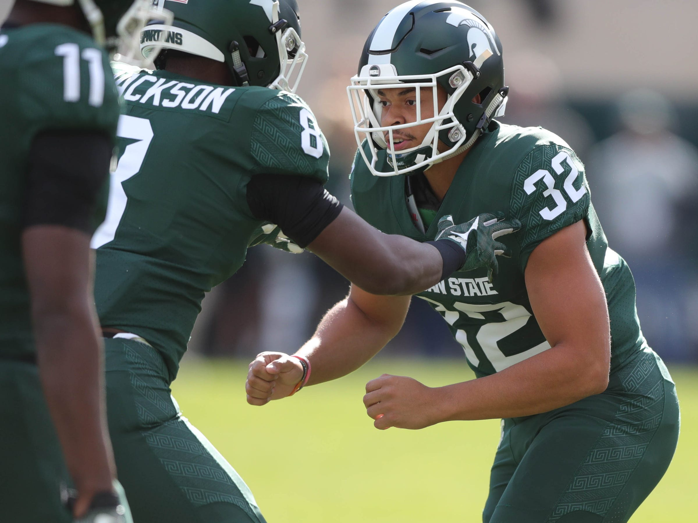 Michigan State's Corey Pryor warms up  before action against Michigan  on Saturday, Oct. 20, 2018, at Spartan Stadium in East Lansing, Mich.